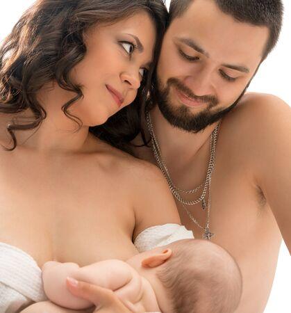 Photo pour Portrait of young traditional family with newborn - image libre de droit