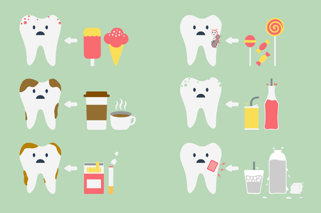 dental cartoon vector, set of teeth problem