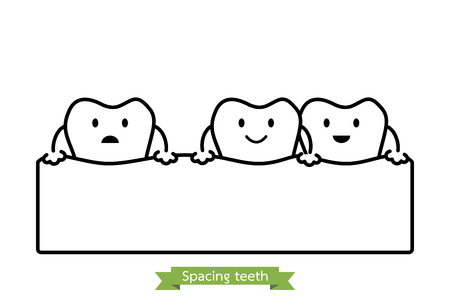 Dental Problem Spacing Teeth Diastema Tooth Cartoon Vector Outline Style Cute Character For Design Royalty Free Vector Graphics