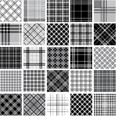 Big black & white plaid patterns set
