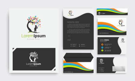 Illustration pour Corporate identity branding template. cloroful vector stationery design with Tree kids childcare logo - image libre de droit