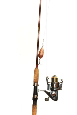fishing-rod with spinning-wheel on white background