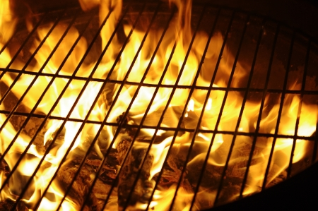 the fragment of grill in night from flames