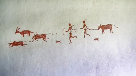 Painting on the wall inside the cave. Primitive
