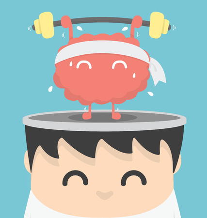 Illustration for Businessman exercising  brain - Royalty Free Image
