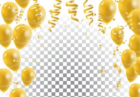 Illustration pour Gold balloons, white background. Vector illustration. - image libre de droit