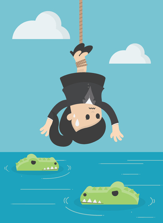 Illustration pour Business Concept Cartoon Illustration Human victim crocodile. business crisis concept risk - image libre de droit
