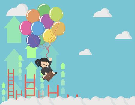 Ilustración de Business Woman holding balloons up in the sky - Imagen libre de derechos