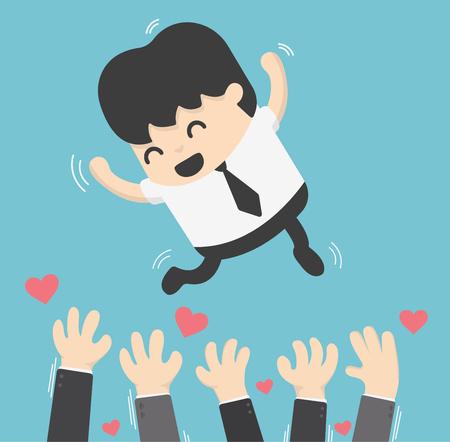 Illustration pour Concept cartoon Throwing up businessman in the air for success - image libre de droit