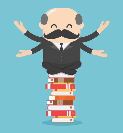 Illustration pour Chief businessman meditate relaxed on a pile of books Ideas, learning, knowledge concept - image libre de droit