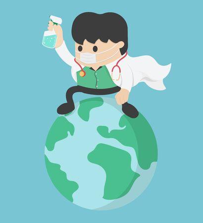 Illustration pour Coronavirus attack concept. doctor Save World. stop Covid-19 - image libre de droit
