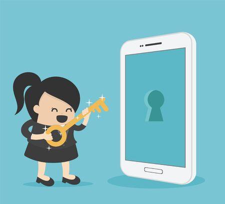 Illustration pour businesswoman holds a golden key to unlock smartphone capabilities for success - image libre de droit