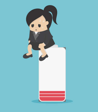 Illustration pour Business women who suffer from work and psychological problems , She sits on a battery - image libre de droit