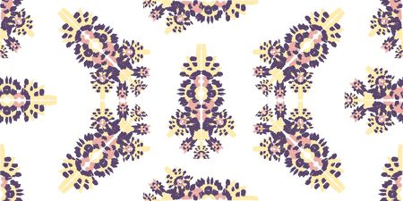 Illustration pour Abstract embroidery seamless ikat pattern. Tribal ethnic folk vector texture. Seamless striped pattern in original Aztec style. - image libre de droit