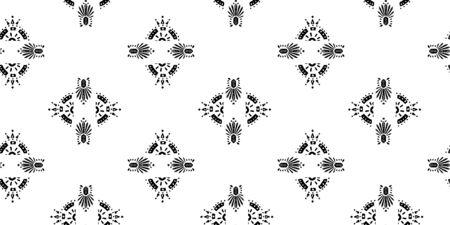 Illustration pour Ikat pattern etnic indian ornamental black and white illustration. Navajo motif texture ornate  design for surface print. - image libre de droit