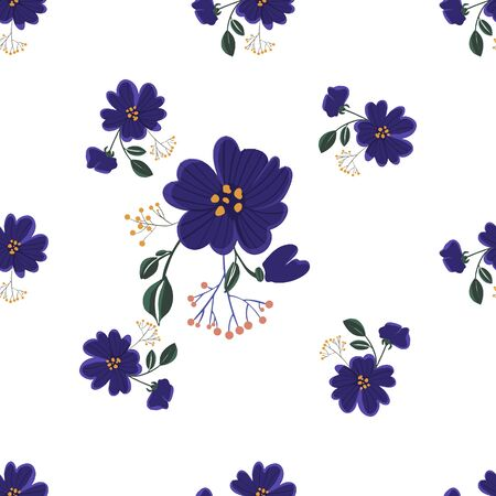 Illustration pour Seamless pattern with colorful hand drawn flowers. Original textile, wrapping paper, wall art surface design. Vector illustration. Floral simple minimalistic graphic design. - image libre de droit