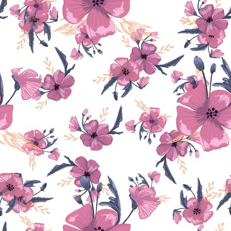 Illustration pour Fashionable cute pattern in native popies  flowers. Flower seamless background for textiles, fabrics, covers, wallpapers, print, gift wrapping or any purpose - image libre de droit