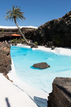 Swimming pool in the Jameos del Agua. Lanzarote.Spain.