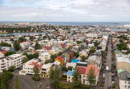 Reykjavik, Iceland: Aerial view of Reykjavik town centre in Iceland, from the Hallgrímskirkja Church.