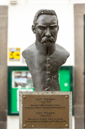 Funchal, Madeira, Portugal - September 3, 2016:  Statue of Marshal Jozef Pilsudski in Funchal on Madeira Island. Portugal