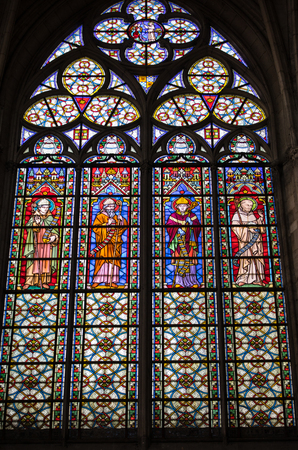 Photo pour Troyes, France - August 31, 2018: Colorful stained glass windows in  Basilique Saint-Urbain, 13th century gothic church in Troyes, France - image libre de droit