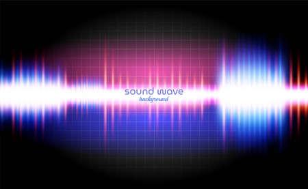 Illustration pour Sound Wave Background with Neon Light Colourful - image libre de droit