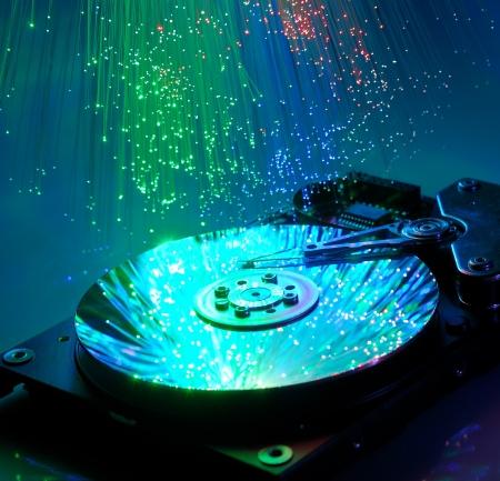 Computer hard drives with technology fiber optics background