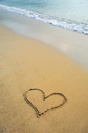 heart drawn in beach