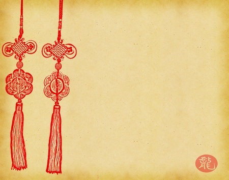 Photo pour Chinese Knot on on Old antique vintage paper background  - image libre de droit