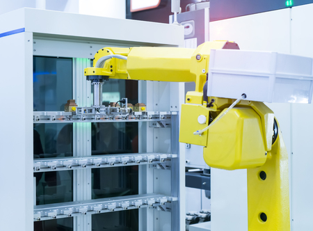 robotic hand machine tool at industrial manufacture factory,Smart factory industry concept.