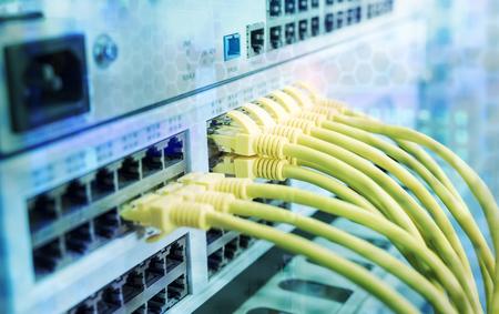 Foto de cable on network switches background - Imagen libre de derechos