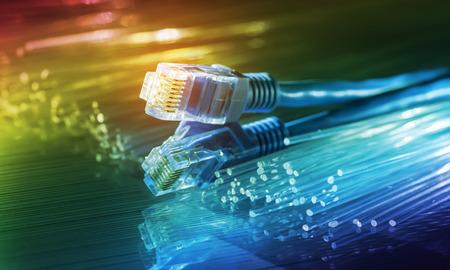 Photo pour network cables with fiber optical background - image libre de droit