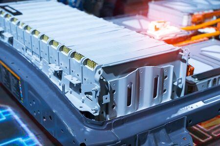 Photo pour Electric car lithium battery pack and power connections - image libre de droit