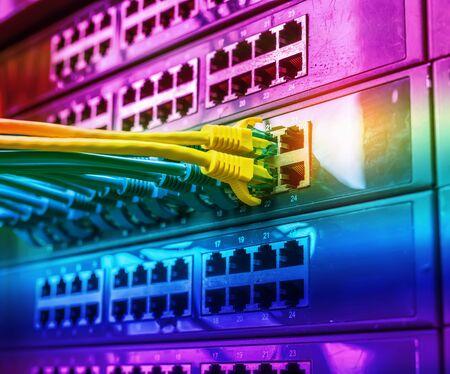 Photo pour cable on network switches background - image libre de droit