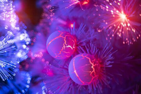 Photo pour Christmas fiber optic decorated Tree with dectoration,holiday concept. - image libre de droit