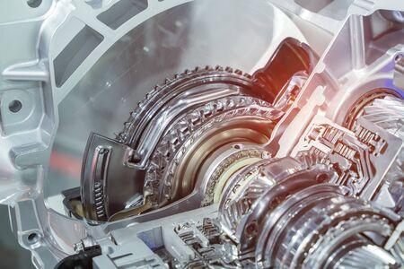 Photo pour Metallic background of car automotive transmission gearbox - image libre de droit