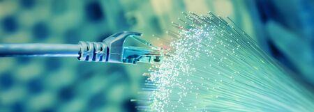 Photo pour network cables with fiber optical technology background,Communication Concept - image libre de droit