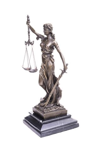 Photo for Statue of justice isolated on white, law concept - Royalty Free Image