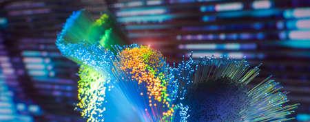 Photo pour Fiber optics network cable on technology background - image libre de droit
