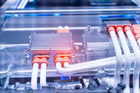 Photo pour electric system of eco car engine, Automotive part concept. - image libre de droit