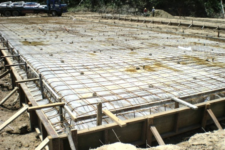 Concrete floor slab with wire mesh on top ready for concreting