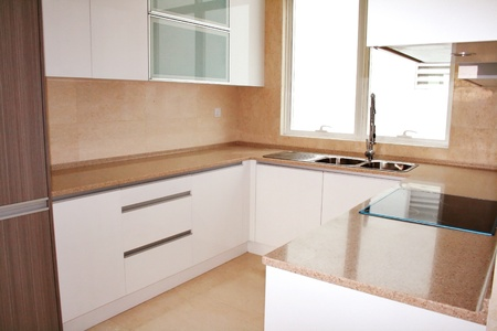 Photo for Kitchen cabinets with modern conceptual design - Royalty Free Image