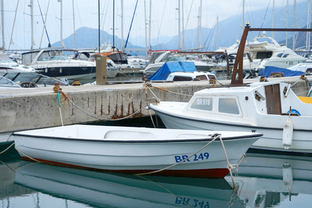 Bar, Montenegro, March, 28, 2016: Boats and yachts in a bay of Adriatic sea