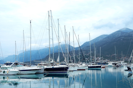 Bar, Montenegro, March, 28, 2016: Boats and yachts in a berth of Bar