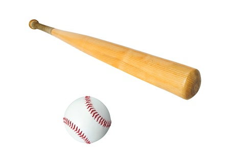 baseball bat and ball isolated on white backgroundの写真素材