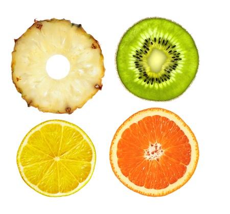 sliced pink pineapple, kiwi, lemon and orange isolated on white