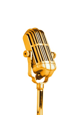 Vintage golden microphone isolated on white background