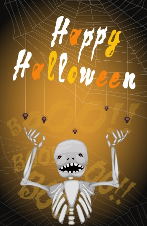skeleton with spiders and happy halloween