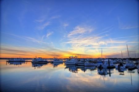 marina in beaufort south carolina, hdr image