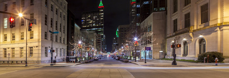 Panoramic view of downtown Raleigh, North Carolina at night from street level